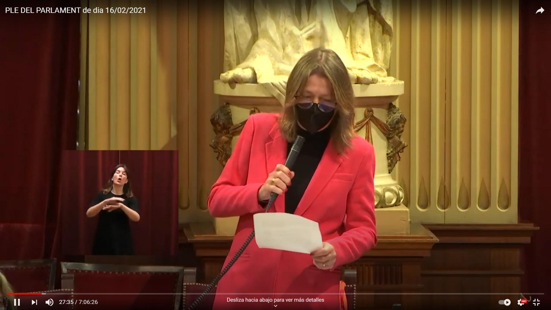 Fotograma de la gravació en vídeo del Ple, amb la diputada formulant la pregunta