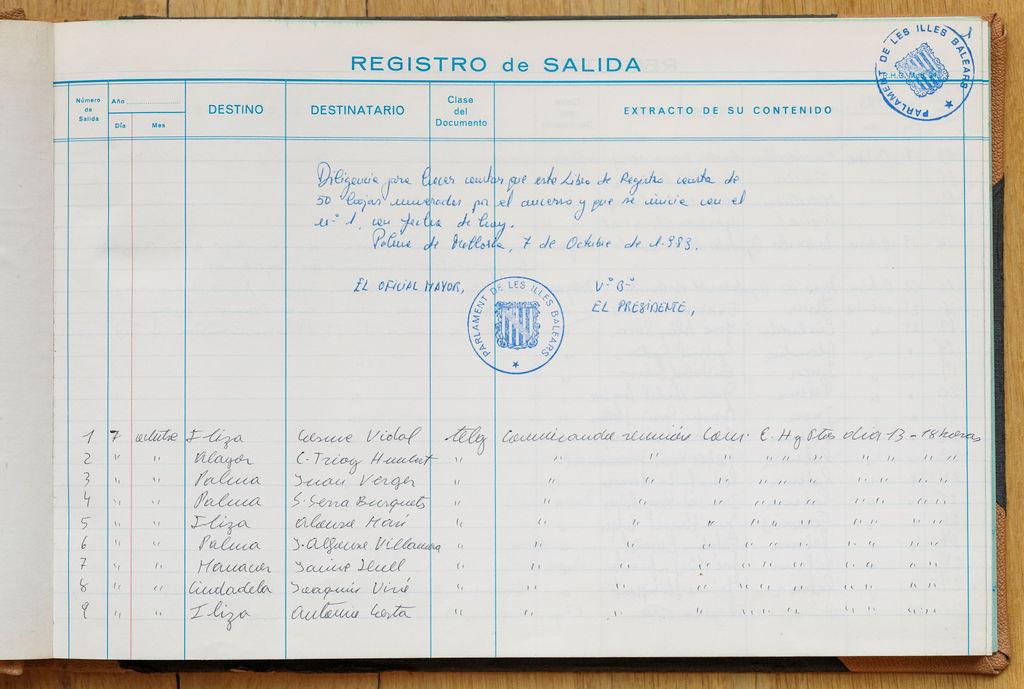 Llibre de registre de sortida de telegrames, primer foli