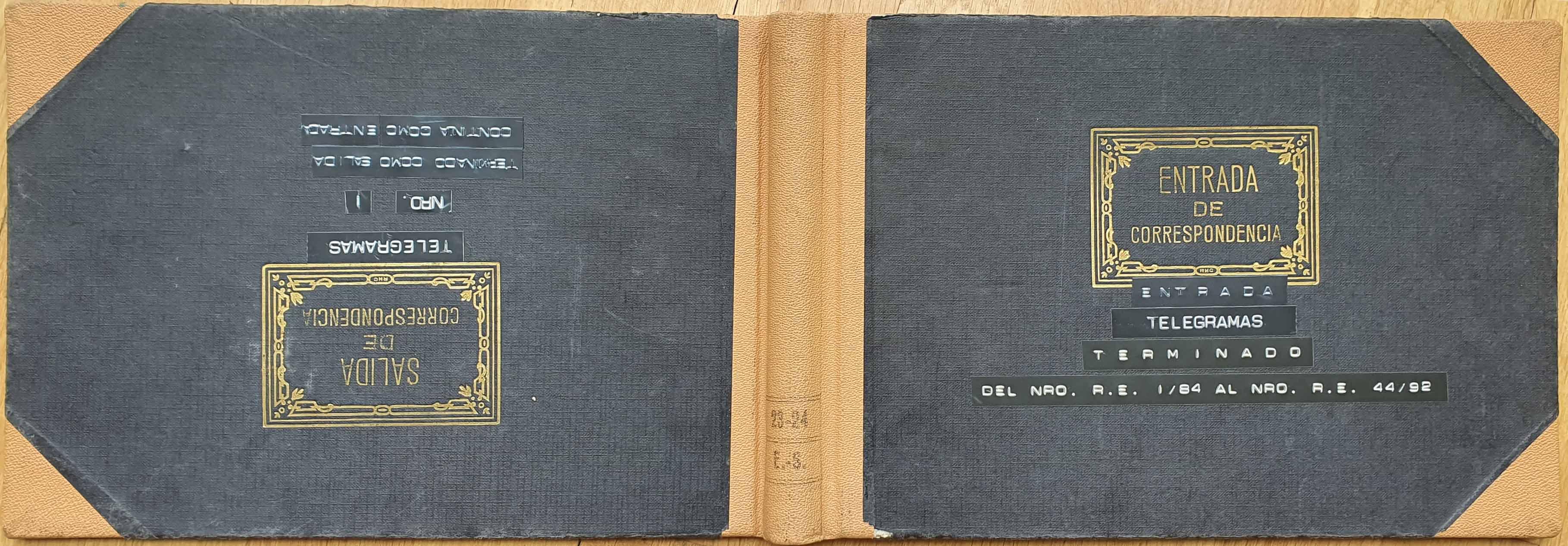 Llibre de registre de telegrames, dues cobertes
